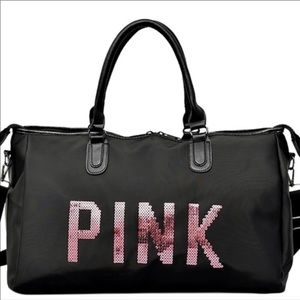 NEW Black Oversized Bag Pink Sequins Crossbody